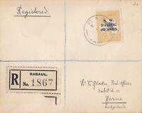 PNG622) New Guinea NWPI 1919 5/- Grey & Yellow 3rd wmk Kangaroo type C ovpt