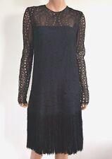 $2800 EMILIO PUCCI Black Lace Fringed Dress IT-44 US-8/10 UK-12