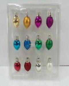 NEW Pottery Barn 12 Mini Mercury Christmas Glass Tree Ornaments Mixed Lights NWT