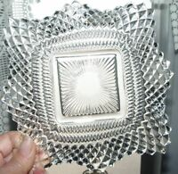 Vintage Pressed Ruffled Scallop Edge Square Diamonds Cut Glass Candy Dish 6.5""
