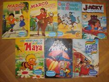 Lote 7 albumes de Danone : don Quijote, Maya, La batalla de los planetas, Jacky