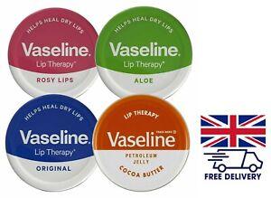 1|2|4 x Vaseline Lip Balm Therapy Petroleum Jelly Pocket Size Mini Size 20g Pots