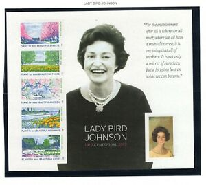 2012 Sc #4716 45c Lady Bird Johnson - Full Pane 6 Mint stamps in mount on page