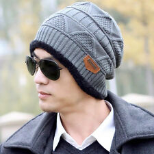 Mens Winter Warm Knitted Beanie Hats Hip-hop Crochet Fleece Thermal Ski Caps