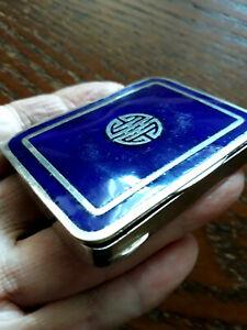 Vintage FRENCH Vichy Etat COBALT BLUE guilloche enamel vanity purse compact box