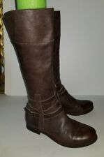 Coconuts brown leather ankle buckle zip knee high riding boots. 7