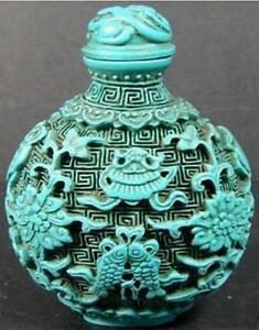 Chinese Turquoise Twins Fish Snuff Bottle