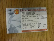 05/12/2001 Ticket: Manchester United v Boavista [UEFA Champions League] (light f