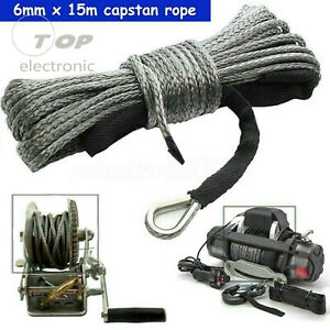 """Synthetic Winch Rope Line 1/4""""x50' Recovery Cable 4WD w/ Sheath ATV UTV"""