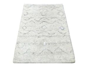2X3 Modern Ivory Hand-Knotted Wool Rug Small Contemporary Carpet