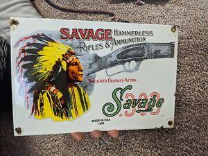OLD VINTAGE DATED 1958 SAVAGE ARMS PORCELAIN SIGN COLT SECOND RIFLE SHOTGUN GUN