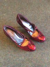 Nine West Ladies High Heel Shoe In Plum Snake Skin Effect Size 4