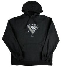 Pittsburgh Penguins NHL Reebok Distressed Logo Black Fleece Hooded Sweatshirt