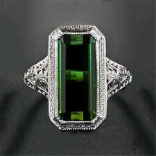 Vintage 925 Silver Emerald Bat Cocktail Ring Women Anniversary Jewelry Sz6-10