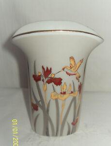 Japanese 12cm Vase White with Double Sided Motif Iris's & Honeyeater Bird