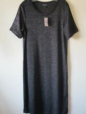 Next TALL Dress Black SILVER Lurex Sparkly Knit Stretchy  Sz 16 NEW