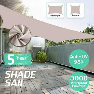 Mulit-Size Heavy Duty Shade Sail Sun Awning Canopy UV Block Outdoor Garden Q
