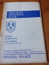 MILWALL V CRYSTAL PALACE - DIVISION TWO - 23/11/1968