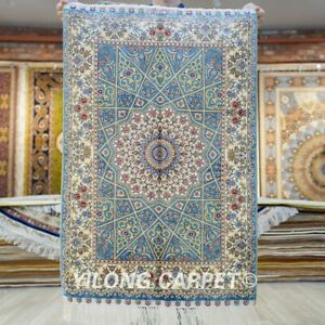 Blue Hand knotted Carpet Medallion 2x3ft Tribal Hand Woven Area Silk Rug 579A