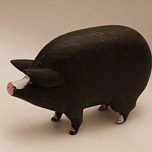 Vintage Folk Art Wooden Pot Bellied Pig Hand Painted Black (B8)