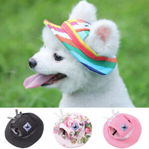 Cute Pet Dog Cap Breathable Summer Adjustable Sunhat Cloth Mesh Canvas HatBLBL