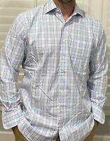 Men's Peter Millar Long Sleeve Button Down Dress Shirt Size Large Blue Pink