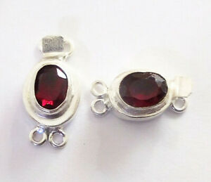 10 PC OVAL RED GARNET BOX CLASP 2 STRAND STERLING SILVER PLATED 618 WSH-39
