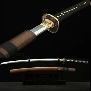 Hand made Folded steel clay tempered Japanese Samurai Sword Katana sharp blade