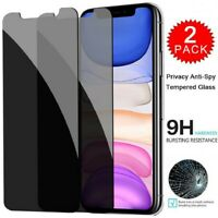 2Pack For iPhone 11 Pro X XS Max XR Tempered Glass Anti-Spy Screen Protector
