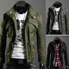 Men's Slim Military Jacket Stand Collar Coat Zip Button Hoody Overcoat Jackets