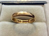 Lovely Quality Early Vintage Solid 22 Carat Gold Wedding Band Ring - N 1/2