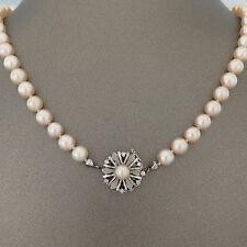 """PERLEN-KETTE """"Akoya-Perlen mit 14K Weißgold-Schliesse mit Diamant"""""""