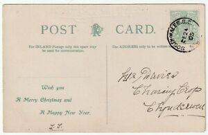 1905 SOUTH WALES S C NIGHT UP POSTMARK CHRISTMAS GREETINGS PPC - RAILWAY WELSH