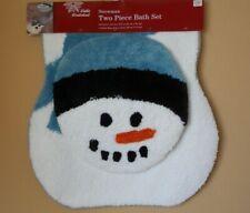 Winter Wonderland Snowman Contour Bath Rug & Toilet Round Lid Cover Set