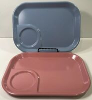 Rubbermaid Pink And Blue Melamine Meal Trays 3850 Set Of 2 Snack Lunch Plates