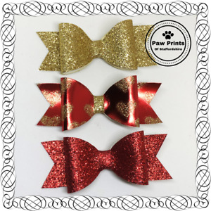Set Of 3 Glitter Bows On Alligator Clips - Red Gold Hearts Valentines Bows
