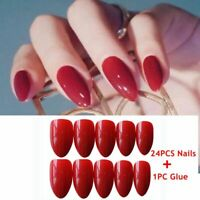 Stiletto Beauty False Nail Tips With Glue Full Cover Manicure Tool Fake Nails