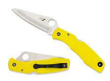 Spyderco Pacific Salt Yellow Folding Knife C91PYL, H-1 Plain Edge Blade - Dealer