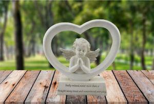 Cherub Angel Memorial Heart Plaque Missed Remembered Ornament Sculpture 20 cm