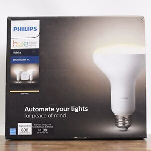 Philips Hue White BR30 Starter Kit Includes Hub, 2 Wireless  Dimmable LED Bulbs
