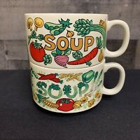 Lot of 2 Stackable Vintage Japan Soup Mugs Bowl Vibrant Vegetable Graphics