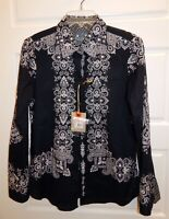 New Robert Graham Godfrey Black White Button Down Top Blouse sz S $198rt