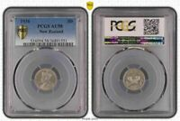 1936 NEW ZEALAND 3 THREE PENCE PCGS AU58 OLD COIN IN HIGH GRADE