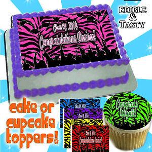 2020 Zebra print Graduation Cake topper cupcakes edible decal picture transfer