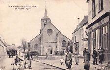 LA CROIX-EN-BRIE la place de l'église attelage café écurie coll pinquier écrite