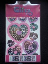 60 GLITZY PINK SHINEY GIRLS HEARTS QUICKSTICKS STICKERS MATCHES THE BORDER S ADV