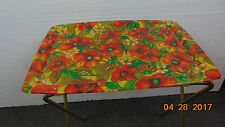 Vintage  Fiberglass Floral Folding TV Tray Tables Mid Century Modern 21 x 16