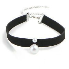 Retro Women Lace Up Pearl Leather Choker Gothic Collar Necklace Jewellery Gift