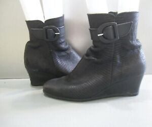 Arche Croc Embossed Strap Buckle Wedge Boots 38 US 7.5 France Flash sale
