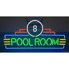 Neon sign 8 ball pool room huge Art Deco on metal grid Billiards table lamp